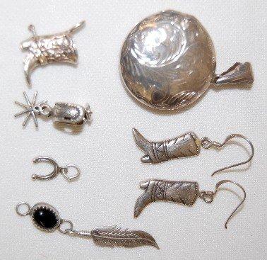 117A: Sterling Silver Jewelry Locket, Earrings, Plus