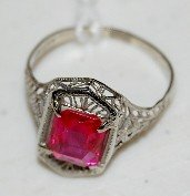 168A: Ladies 14K Yellow Gold Filigree Ruby Ring, Size 6
