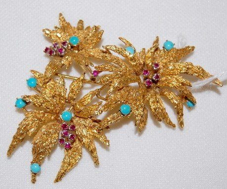 181A: 18K Gold Brooch With Rubies and Turquoise