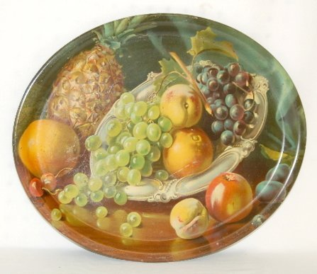 35: Tin Litho Oval Tray with Fruit, Unmarked