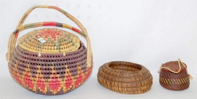 37: 3 Basketry Items, 2 Covered, 1 Open