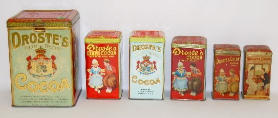 40: 6 Droste's Cocoa Powder Tins