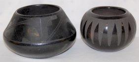 2 Black On Black Pottery Bowls