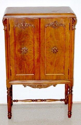 111: Ornate Mahogany 2 Door Cabinet