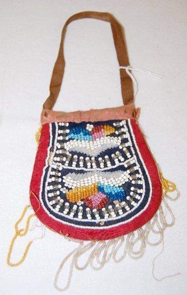113: Iroquois Beaded Bag, Circa 1870's