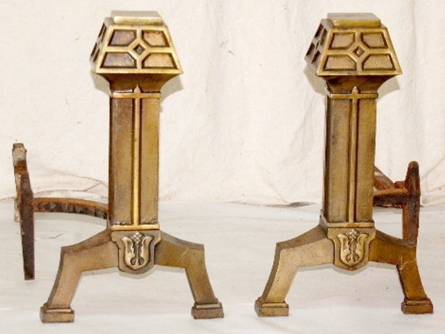 115F: Pair of Arts & Crafts Decorated Andirons