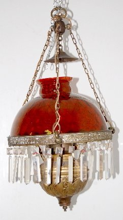 128: Hanging Lamp w/Prisms, Cranberry