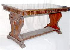 160F Antique Carved Mahogany Library Table