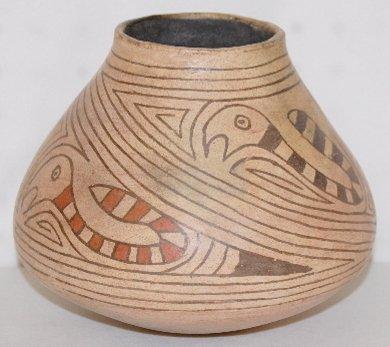 189: Pottery Vessel w/Snakes & Dark Lines