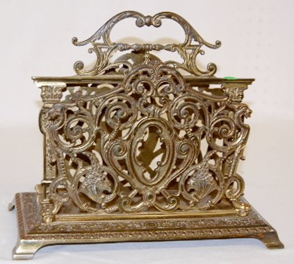230: B & H Ornate Brass Magazine Rack