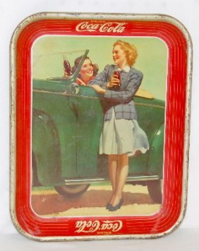 Coca Cola Tray, Girl By Green Car