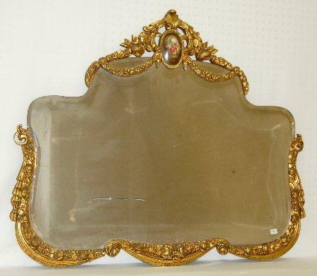 112A: Ornate Gilt Gesso Mirror w/Porcelain Plaque