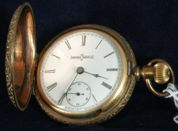 504: Trenton Watch Co. 16s in Engraved Brassed Case NR