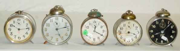 21: 5 Antique Bell Top Alarm Clocks