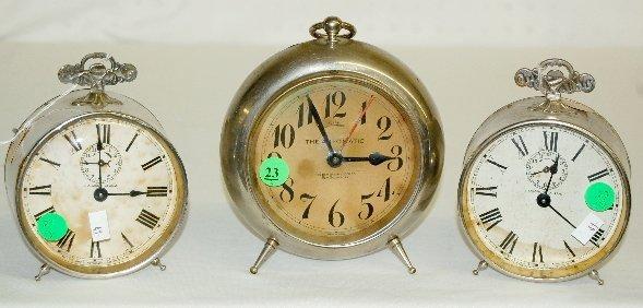 23: 3 Antique Alarm Clocks, Waterbury & New Haven