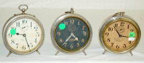 3 Antique Alarm Clocks, Victory & National Call