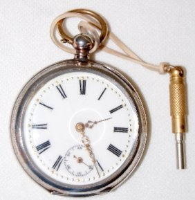 Swiss 10J, 10S, OF .800 Silver Pocket Watch