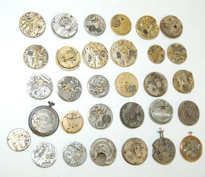 69: 30 Pocket Watch Movements; Many With Dials