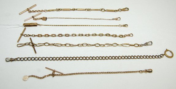 96: 7 Watch Chains, Assorted Styles and Lengths