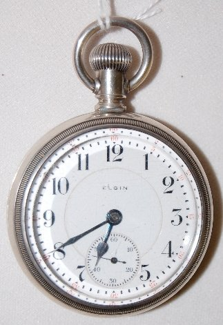 105: Elgin 21J, 18S, Father Time, LS, OF Pocket Watch