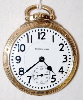 114: Hamilton 992B, 21J, 16S, GF, OF Pocket Watch