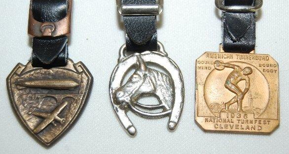 141: 7 Watch Fobs: Art Nouveau, Animal, Blimp & Bell - 2
