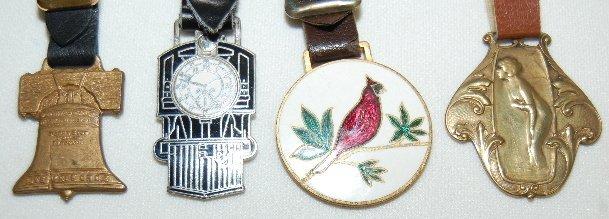 141: 7 Watch Fobs: Art Nouveau, Animal, Blimp & Bell - 4