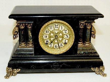 1: Ornate Antique Black Mantel Clock