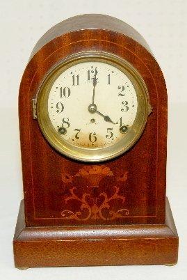 4: Seth Thomas Inlayed Mahogany Mantel Clock