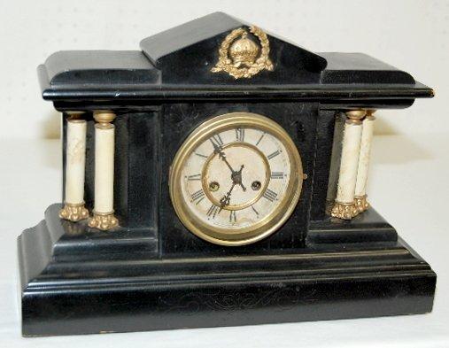 5: Waterbury 4 Column Black Mantel Clock