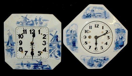 11: 2 Blue Delft China Clocks