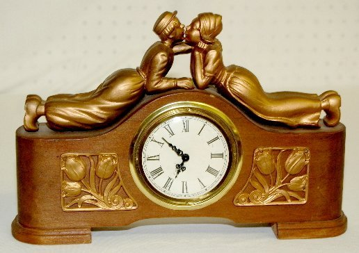 15: Antique Clock with Dutch Kissing Couple