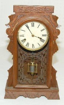 18: Antique Walnut Carved Small Kitchen Clock