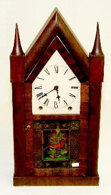 20: Antique Steeple Clock with Bird Glass