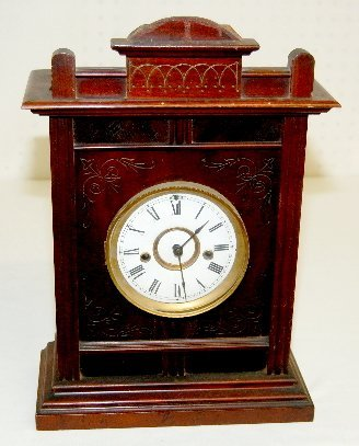 26: Antique Carved Mahogany Mantel Clock