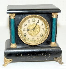 Gilbert Small Fancy Black Mantel Clock