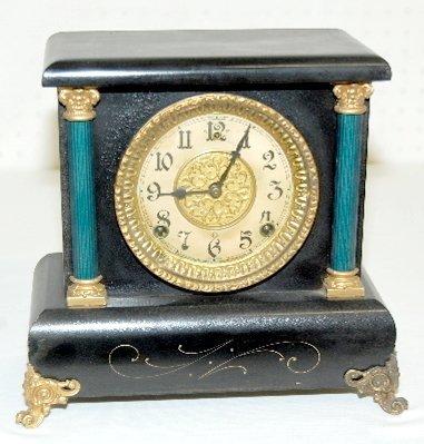 31: Gilbert Small Fancy Black Mantel Clock