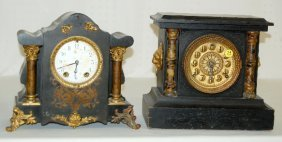 2 Antique Black Mantel Clocks, Seth Thomas