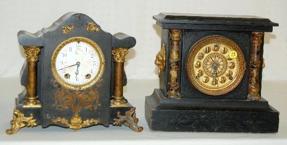 34: 2 Antique Black Mantel Clocks, Seth Thomas