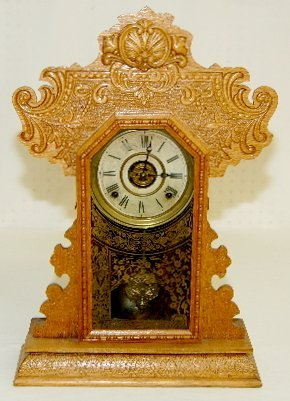 "35: Ingraham ""Minerva"" Oak Kitchen Clock"