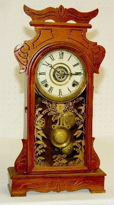 38: Antique Walnut Kitchen Clock with Alarm