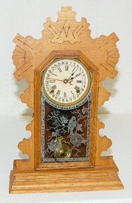 41: Ansonia Oak Calendar Kitchen Clock