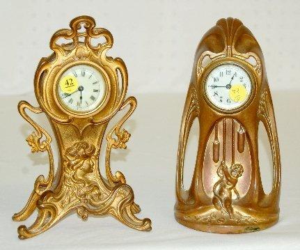 42: 2 Antique Novelty Clocks, Lady, Cherub