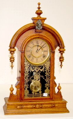 88: Antique Gilbert Oak Teardrop Parlor Clock