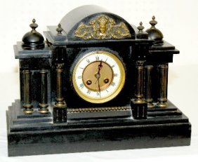 French Slate Mantel Clock W/ Warrior