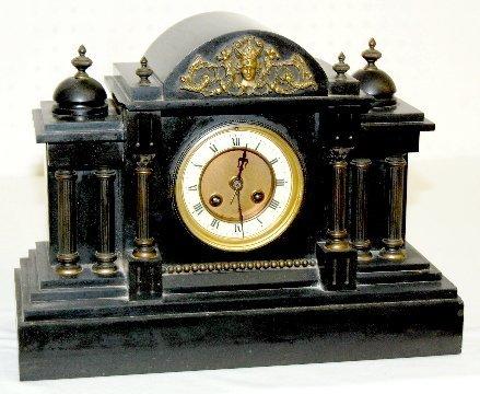 91: French Slate Mantel Clock w/ Warrior