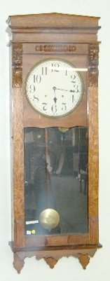 93A: Large Sessions Oak Carved Wall Clock