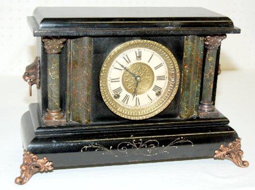 96: Antique Gilbert Black Mantel Clock