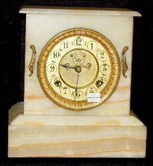 98: Waterbury Onyx Open Escapement Clock