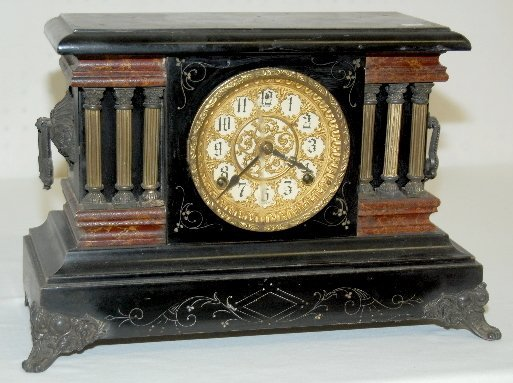 99: Sessions Fancy Dial Black Mantel Clock